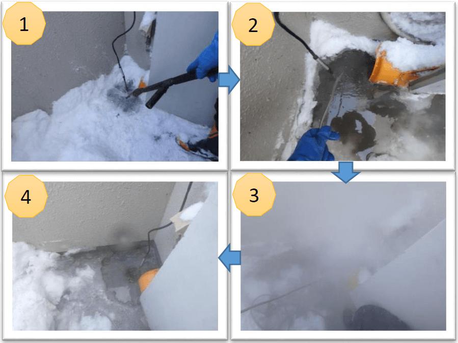 まずは、雪に埋もれたドレン管の先端を探します。先端をみつけたら、そこから解氷作業開始です!<br /> 通常はスチームで解氷するのですが時間がかかるので、当社ではボイラーと高圧洗浄機を使用し高圧をかけた熱湯で溶かしていきます。<br />